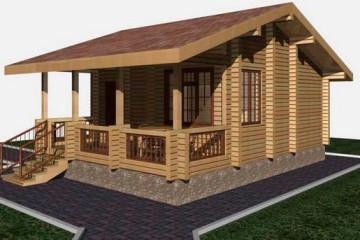 Проект деревянной бани 6 на 8 с террасой из клееного бруса