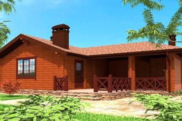 Проект деревянной  бани с террасой и барбекю из бруса