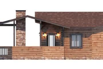 Проект деревянной бани из клееного бруса с террасой