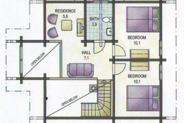 Проект двухэтажного дома 8 на 9 с мансардой из клееного бруса