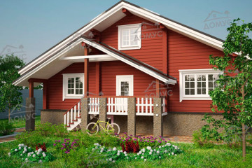 Проект деревянного дом со вторым светом из клееного бруса