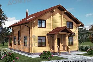 Проект деревянного дома из клееного бруса с крыльцом и террасой