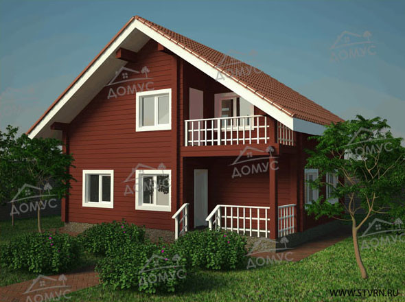 Проект деревянного дома с балконом из клееного бруса