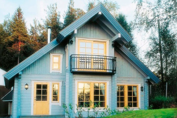 Проект финского дома с эркером и балконом из клееного бруса