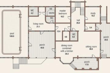 Проект двухэтажного дома с эркером и террасой из клееного бруса