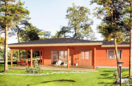 Проект одноэтажного коттеджа с тремя спальнями из клееного бруса