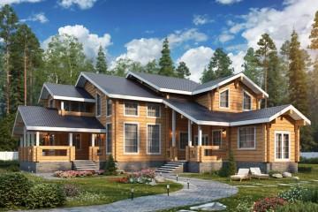 Проект современного двухэтажного дома из клееного бруса