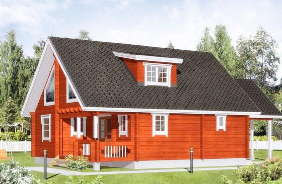 Проект финского одноэтажного коттеджа с мансардой из клееного бруса