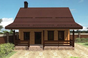 Проект двухэтажного дома 9 на 10 с террасой из клееного бруса