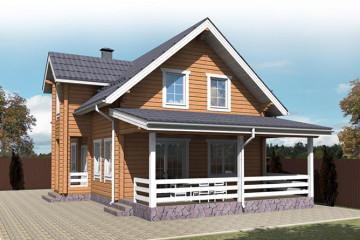 Проект загородного дома из клееного бруса с террасой