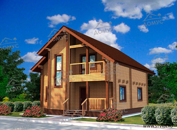 Проект дома 8 на 11 двухэтажного с мансардой из клееного бруса