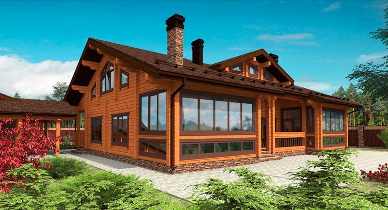 деревянный дом с огородом