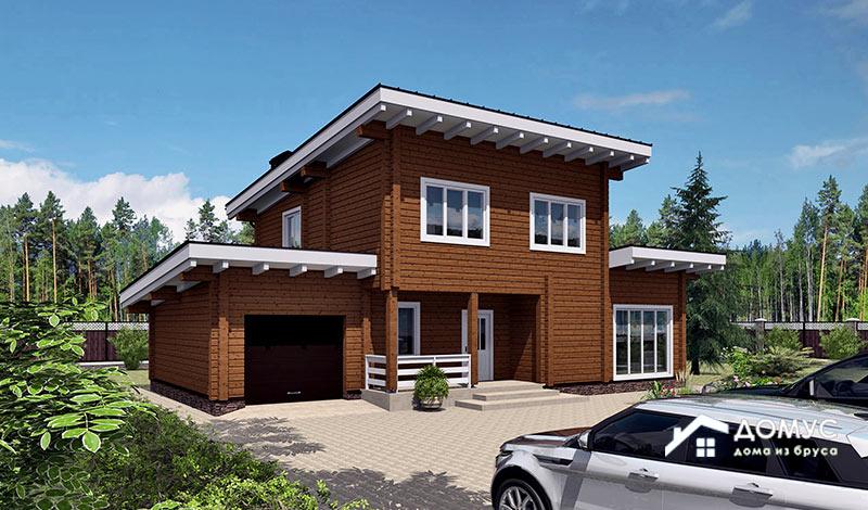 Деревянный дом с односкатной крышей