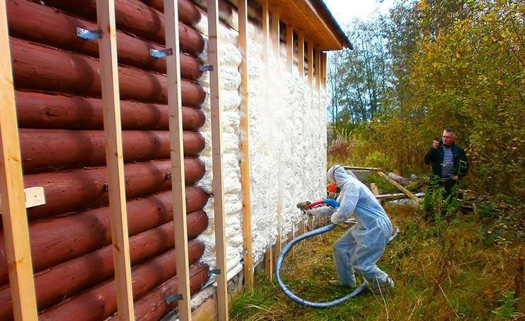 Утепление деревянного пенополиуретаном